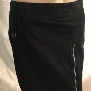 Cool Dahlia Casual Black Cotton Zipper Skirt Sz 6